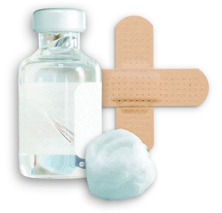 vaccine bottle, cotton ball and bandage