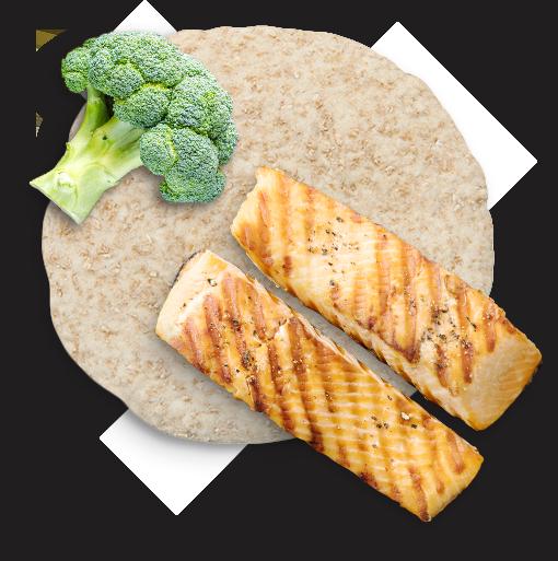 broccoli, whole wheat bread and salmon