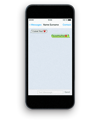 smart phone with a positive message exchange between two people
