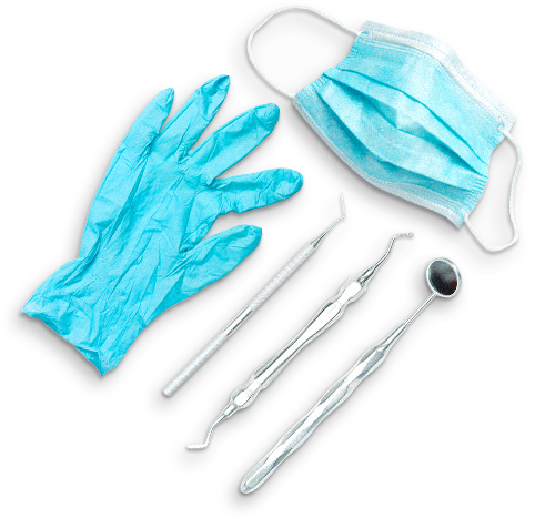 dental equipment/ tools, disposable gloves and face mask representing dental health