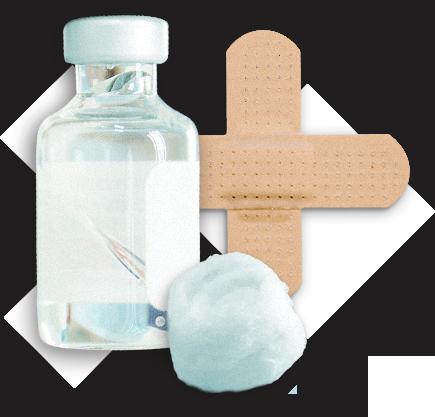 vaccine bottle, cotton ball and bandage representing immunization