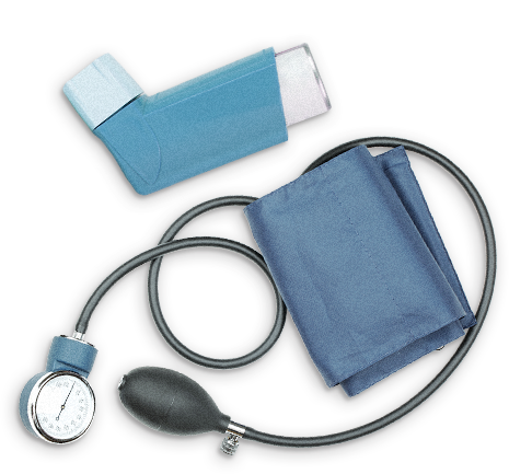 asthma inhaler and blood pressure cuff representing pre-existing conditions