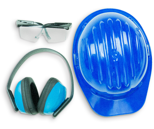 Safety eye glasses, ear muffs/ hearing protection and safety helmet representing occupational hazards