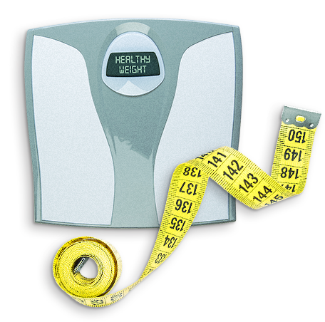 a weigh scale and measuring tape representing healthy weight