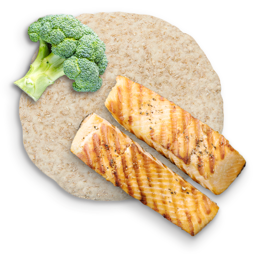 broccoli, whole wheat bread and salmon representing eating a variety of foods