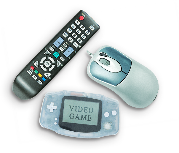TV remote control, computer mouse and a video game console representing sedentary behaviour