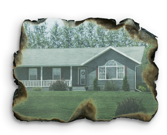 partially burned photograph of a family home representing adverse, difficult or traumatic personal experiences