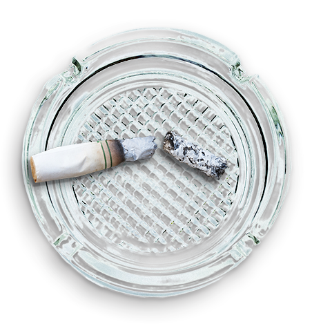 cigarette butt and ashtray representing avoiding tobacco and tobacco-like products