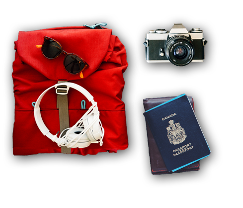backpack, headphones, sunglasses, camera and passport representing travel safety