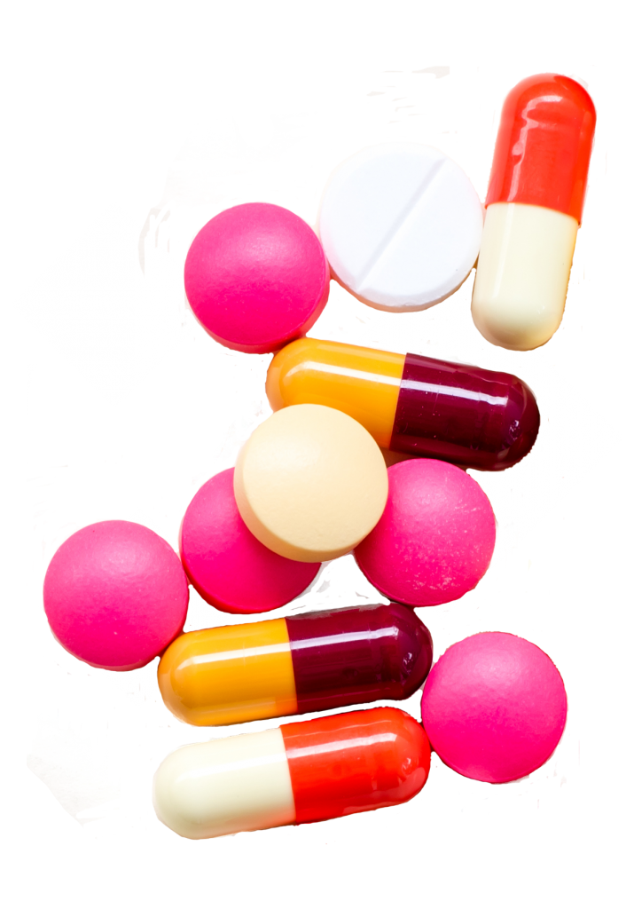 different coloured pills representing medicine and other substances