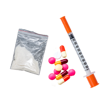 pills, a syringe and white powder representing substance use
